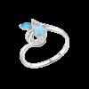 Кольцо с голубыми топазами и фианитами