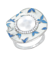 Damenring mit Perle, Zirkonia und Emaille