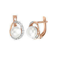 Earrings with made of genuine pearl and zirconia