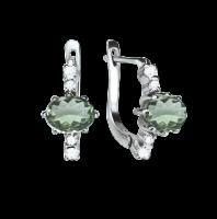 Ohrhänger mit Zirkonia und Amethyst grün