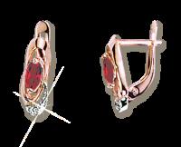 Ohrhänger mit Zirkonia und synth. Rubin