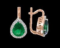 Ohrhänger mit Smaragd und Zirkonia