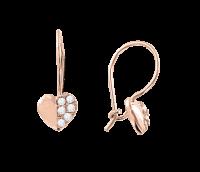 Gold Ohrhänge - Herz mit Zirkonia