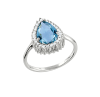 Ladies Ring with Topaz and zirconia