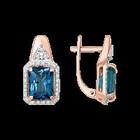 Ohrhänger mit Brillanten und London blue Topas