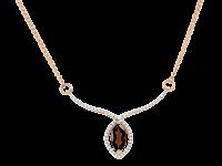 Gold Collier mit Granat und Zirkonia