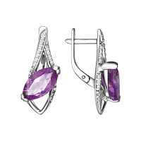 Earrings with amethyst and zirconia