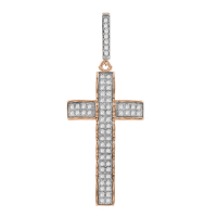 Anhänger Kreuz mit Zirkonia, vergoldet