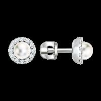 Ohrstecker mit Perle und Zirkonia
