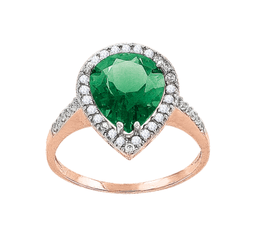 Damenring mit Smaragd und Zirkonia
