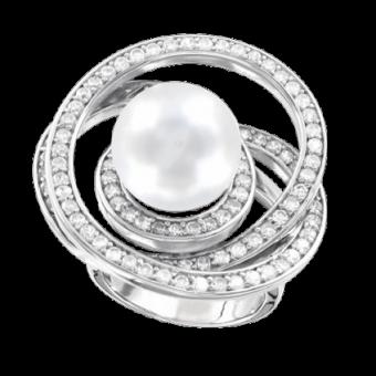 Damenring mit Perle und Zirkonia