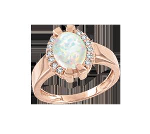 Damenring mit Opal und Zirkonia