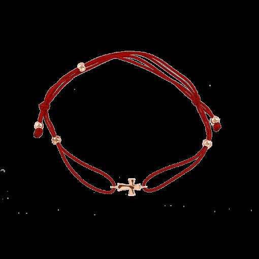 """""""Kreuz"""" Armband Gold - Rot"""