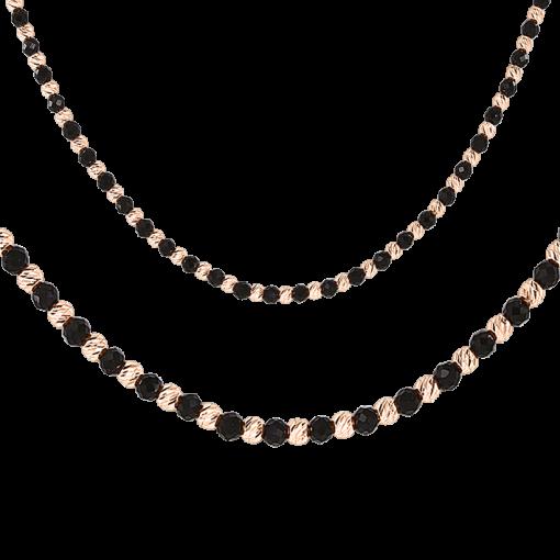 Collier oder als Armband mit Onyx aus Rosegold
