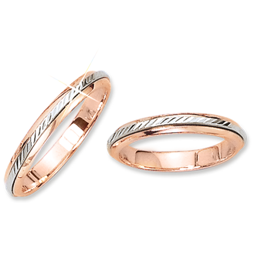 """Trauring, Rot-/Weißgold 585, """"Ring im Ring drehbar"""", Breite 3,0 mm. / Preis für je 1 Ring."""