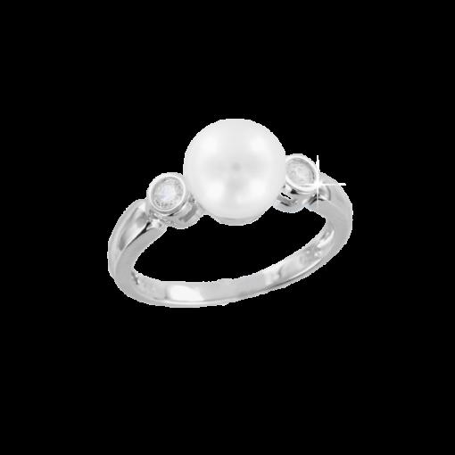 Damenring mit Perle und Brillant