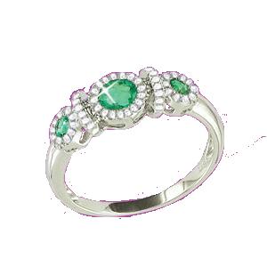 Damenring mit Smaragd und Brillanten