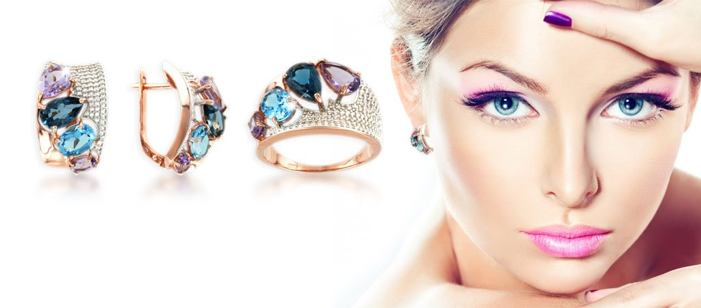 rings & earrings with Amethyst, Topas London Blue, Topas